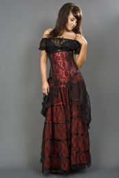 Victorian gothic maxi skirt in red cotton and black lace overlay
