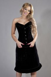 Victorian overbust corset black flock and black fur