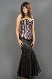 Victorian overbust corset in pink satin and black lace overlay