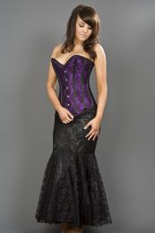 Victorian overbust corset in purple satin and black lace overlay
