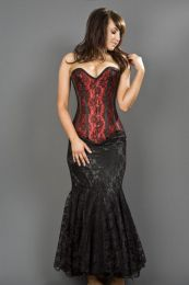 Victorian overbust corset in red satin and black lace overlay