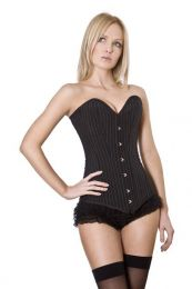 Victorian overbust long line corset in pinstripe