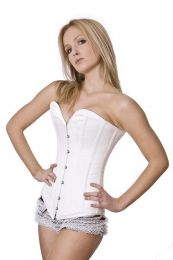 Victorian overbust long line corset in white satin