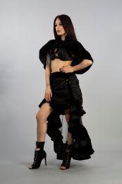 Victorian bolero shrug in black velvet and black fur