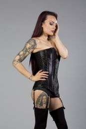 Victorian overbust steel boned long line corset in black satin