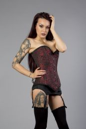 Victorian overbust long line corset in red brocade