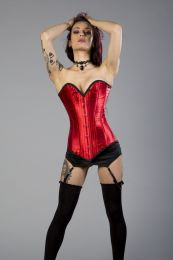 Victorian overbust long line corset in red satin