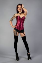 Victorian overbust long line corset in burgundy satin and black trim. A steel boned long corset with clip fastening, laces and modesty panel at rear.