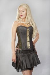 Vintage overbust steampunk corset in coffee brown matte vinyl and olive twill