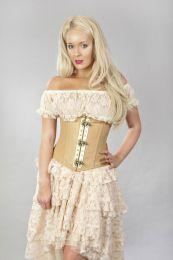 Vintage underbust steampunk corset in camel matte vinyl