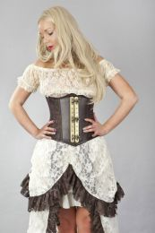 Vintage underbust steampunk corset in coffee matte vinyl and brown king brocade