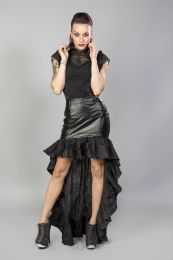 Vivienne high low skirt in black cotton black matt