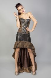 Gemini overbust steampunk corset in brown camel stripes cotton with zip and brass straps buckles