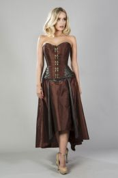 Warrior overbust steampunk corset in brass taffeta and brown matte hip panels