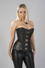 Warrior overbust steampunk corset in black taffeta and black matte hip panels