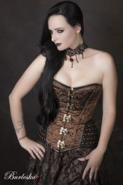 Warrior overbust steampunk corset in brown brocade and brown matte hip panels