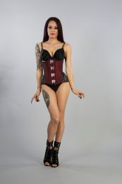 Warrior underbust steel boned corset in burgundy taffeta with black matte hip panels