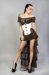 Warrior underbust steel boned corset in cream brocade with brown matte hip panels