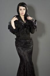 Widow long sleeve gothic shirt in black cotton