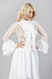 Widow long sleeve ladies vintage shirt in white stretch lace