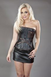 Zeena overbust steampunk corset in black and brown matte vinyl