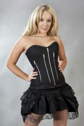 Zipper overbust corset with zip in black twill