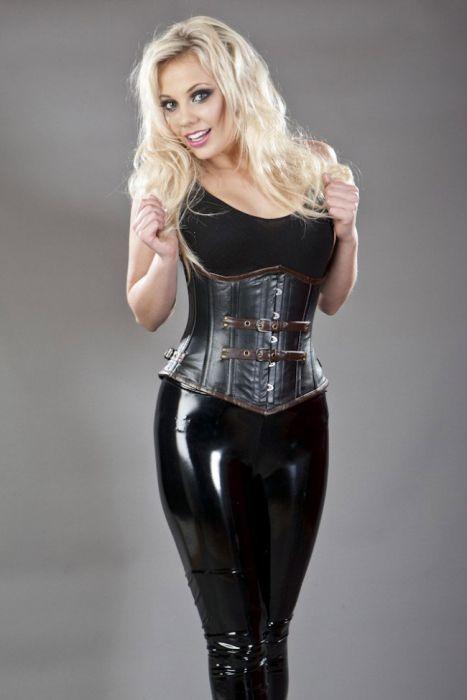 e826438281c Bernia steel boned underbust corset in black   brown napa leather  BERUBLEABLKBRW by Burleska color Black