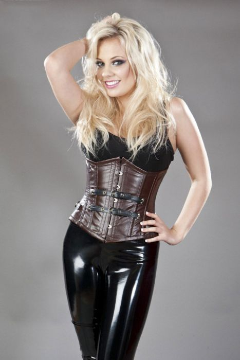 a2ad02941 Bernia underbust steel boned corset in brown   black napa leather  BERUBLEABRWBLK by Burleska color Brown