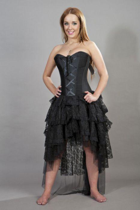 8184fdb13c7 Beverly prom corset dress in black taffeta BEVDRTAFBLK by Burleska color  Black
