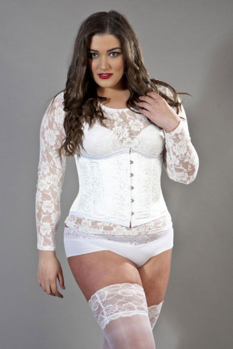 480272dfb7 Candy plus size underbust steel boned corset in white brocade CANUBBROWHIP  by Burleska color White