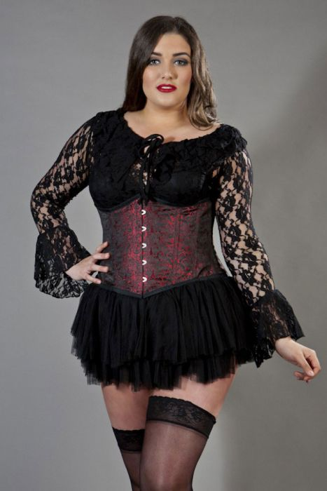 7fea8eefb Candy underbust plus size steel boned corset in red brocade CANUBBROREDP by  Burleska color Red