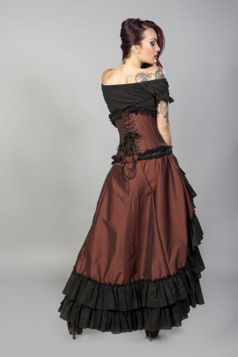 da4b1fc0a63 Carnation victorian maxi skirt in brass taffeta CRNSKTAFBRA by Burleska  color Copper