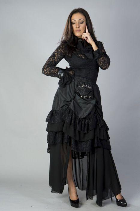 502de58a9f22c Catriana steampunk skirt in black taffeta CTNSKTAFBLK by Burleska color  Black