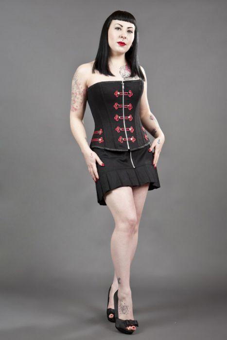 649e379b3653 Cirque de Nuit gothic mini skirt in black twill with red cord detail  CIRSKTWIRED by Burleska