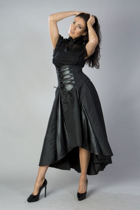 64f08f84f Clara high low skirt in black taffeta CLASKTAFBLK by Burleska color Black