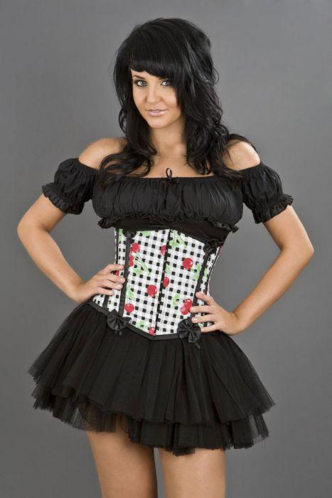 93b4145135 Daisy underbust rockabilly corset in cherry gingham DAIUBGINCHE by Burleska  color Red