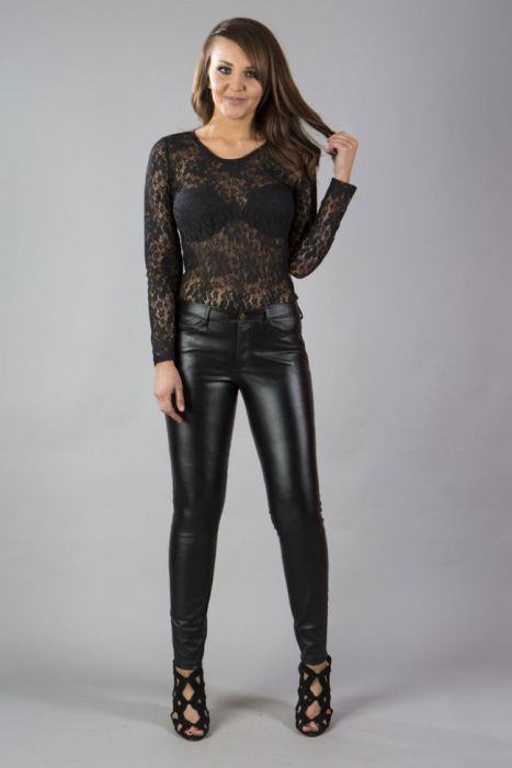 5f576519157e Demonia black leather look skinny trousers with zip fly DEMTRMATBLK by  Burleska color Black