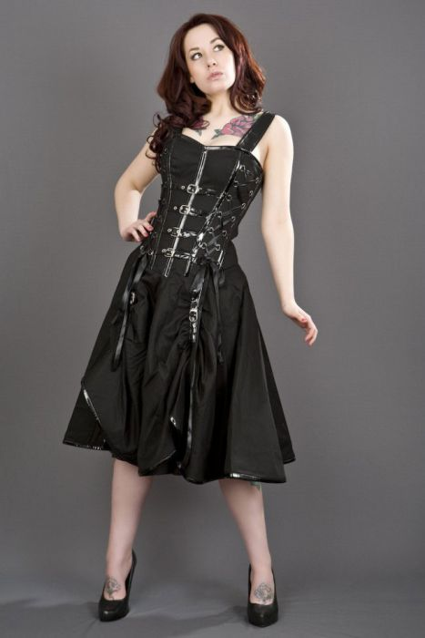 857caea7b Dominatrix punk rock corset dress in black twill DTXDRTWIBLK by Burleska  color Black