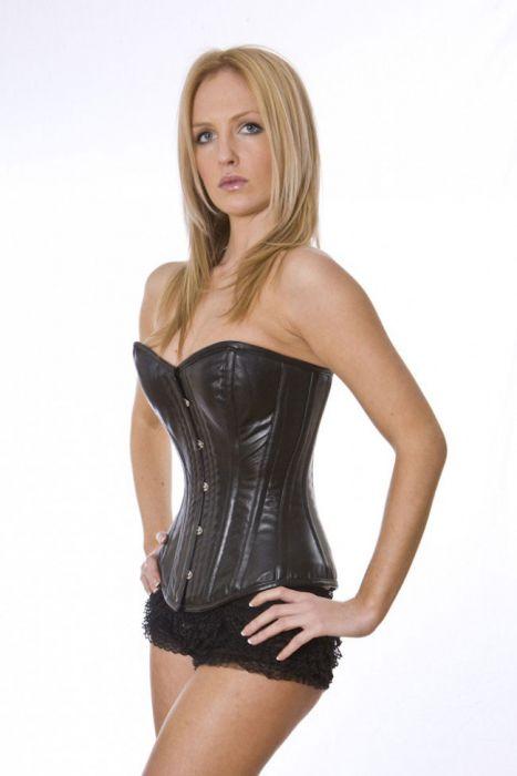 18028aee0f Elegant overbust napa leather corset in black ELEOBLEABLK by Burleska color  Black
