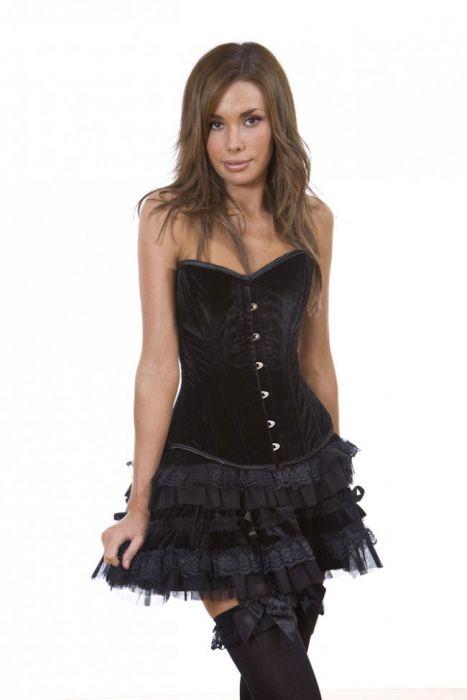 86eb07d14d Elegant overbust steel boned corset in black velvet ELEOBVELBLK by Burleska  color Black