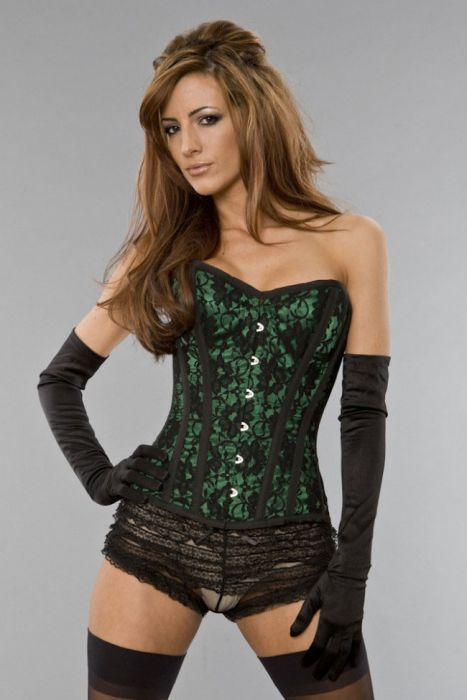 acb3c1a712 Elegant overbust steel boned corset in green satin   black lace overlay  ELEOBLACGRN by Burleska color