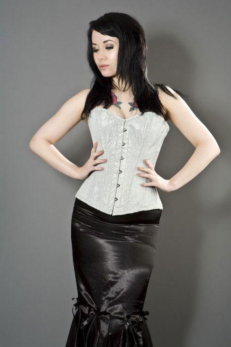 484e89e6be Elegant overbust steel boned corset in silver glitter ELEOBGLISIL by  Burleska color Silver