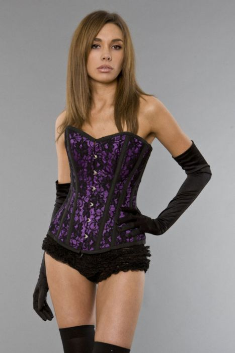 886e0bd8d187a Elegant overbust tight lacing corset in purple satin   black lace overlay  ELEOBLACPUR by Burleska color