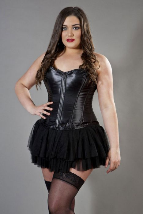 choose original best price hot-selling cheap Glamour overbust plus size corset in black satin