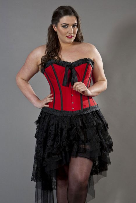 Lily overbust plus size corset in red taffeta