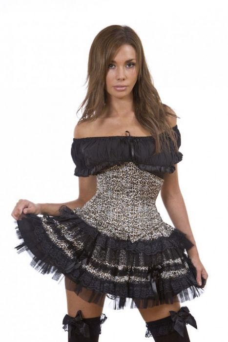 0afc088559ce Lolita burlesque mini skirt in leopard print LOLSKLEO by Burleska color  Black