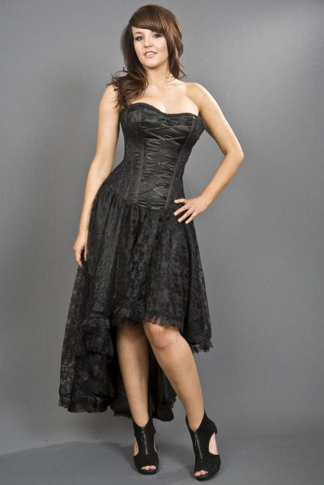 2a3a9d21963 Mollflanders victorian gothic corset dress in black satin and black lace  overlay MOLDRSATBLK by Burleska color