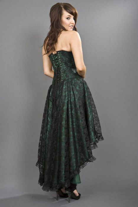 4161b38c806ad Mollflanders gothic corset dress in green satin and black lace overlay  MOLDRSATGRN by Burleska color Green