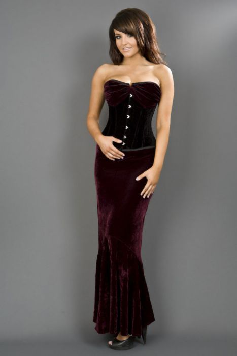 875bae61799 Opera overbust steel boned corset in black   burgundy velvet OPEOBVELBUR by  Burleska color Burgundy