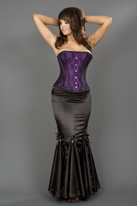 23378989a9 Panel long mermaid style skirt in black satin PNLSKSATBLK by Burleska color  Black